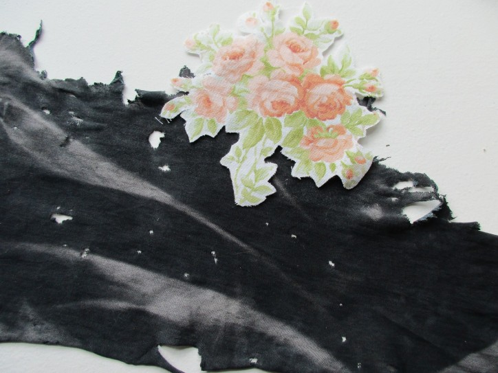 Flower Wars - found piece of fabric, cut out flower print (vintage bed linen)