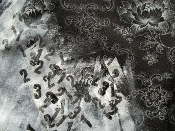Flower Wars - Numbers vs Flowers (printed numbers on cotton fabric)